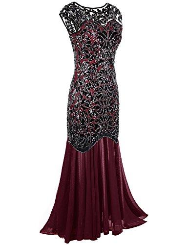 Nero Sera Paillettes Gatsby Prom PrettyGuide Maxi Donne Borgogna Vestito Lungo 1920s Da SHwEF