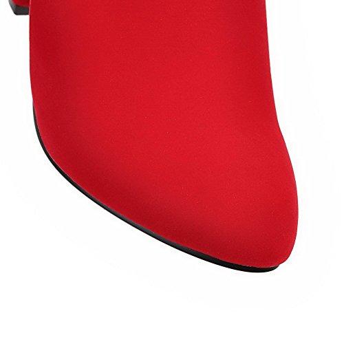 AllhqFashion Mujeres Tacón ancho Sólido Puntera Redonda Cremalleras Botas con Pieza de Metal Rojo