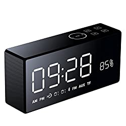 Wireless Bluetooth Speaker with Alarm Clock and FM receiver - 3D HiFi Surround Sound and 2-way Calling, Double Alarm, Wireless Control, Infrared Control. For iPhone, Samsung, and more. Gift idea.