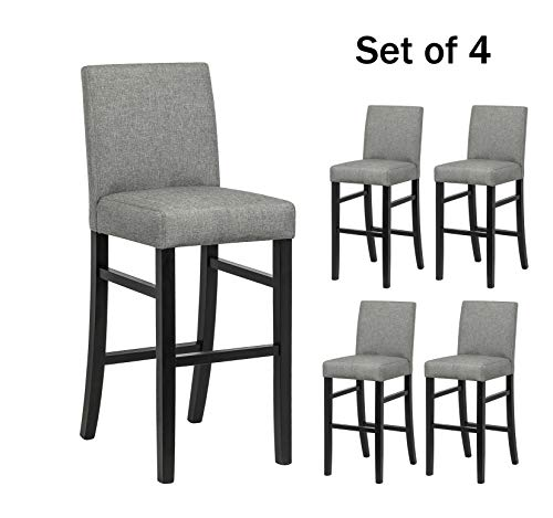 YEEFY Dining Chairs High Counter Height Side Chairs with Wood Legs, Set of 4 (Gray)