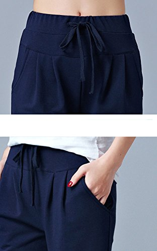 Donna Yoga Taglie Forti Larghi Blu marino Harem Pantaloni Sportivi Jogging Pantaloncini Pantaloni Baggy Zz5pYqTw
