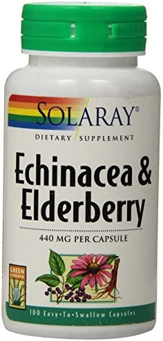 Solaray Echinacea and Elderberry Capsules, 440 mg, 100 Count