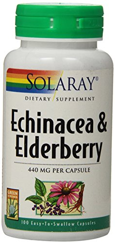Solaray Echinacea and Elderberry Capsules, 440 mg, 100 - 75 Lozenges Honey