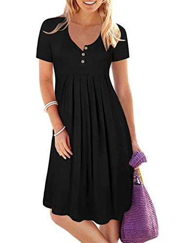 Women's Black Short Sleeve Button Up Pleated Loose Swing Work Casual Dresses Knee Length ()