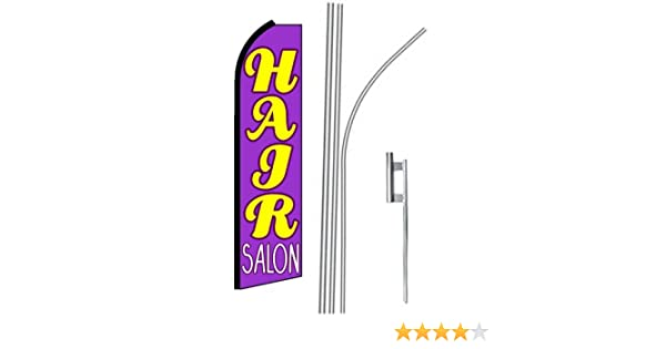 BEAUTY SALON Windless Full Curve Top Advertising Feather Swooper Flag