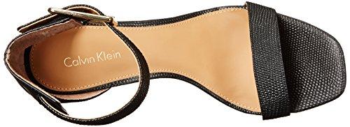 Calvin Klein Women's Vable Heeled Sandal, Sand/Silver Black