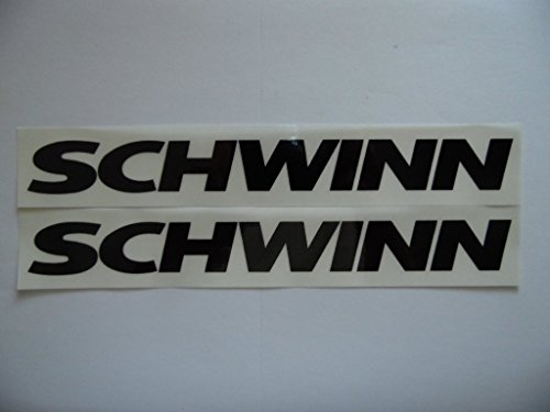 "Schwinn 7"" Black on clear Bike Vinyl decal weather proof 2 bike stickers"