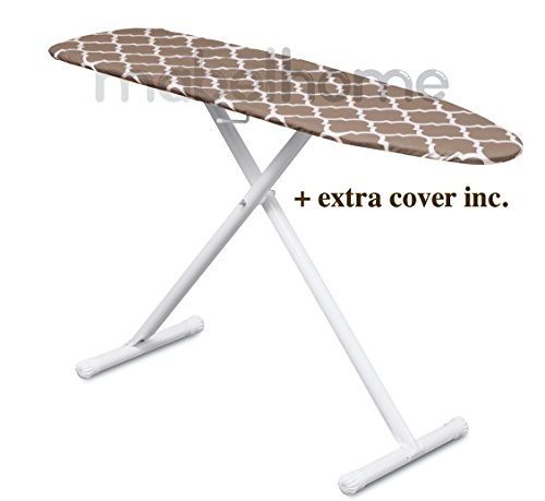 Mabel Home T-Leg Adjustable Height ironing Board with Light-Brown/White Patterned Cotton Cover, + Extra Cover