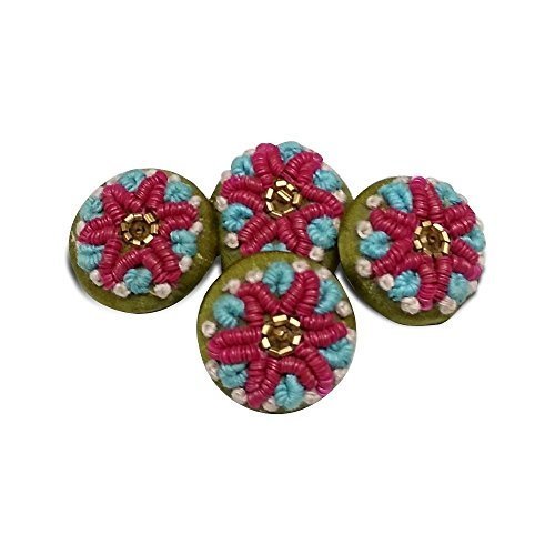 Jacknjewel hand embroidery button for ladies dress, ladies suits & kurta's using kardana, sequence & zardosi work (pack of 4 pieces)