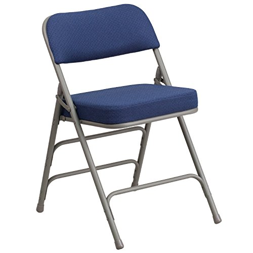 Flash Furniture HERCULES Series Premium Curved Triple Braced & Double Hinged Navy Fabric Metal Folding Chair (Back Upholstered Seat)