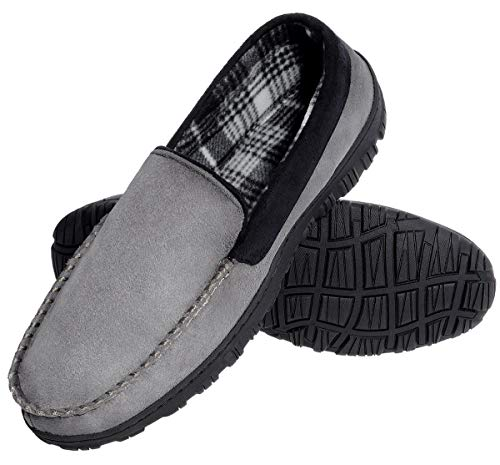 festooning Mens House Shoe Casual Pile Lined Grey Black Rubber Moccasin Slippers 9 M US