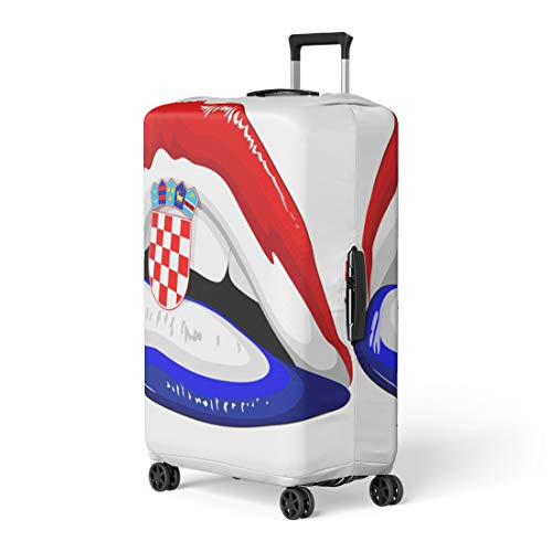 Flag Shield Protector Case - Semtomn Luggage Cover Blue Croatia Flag Lipstick on Sensual Lips Shield Emblem Travel Suitcase Cover Protector Baggage Case Fits 18-22 Inch