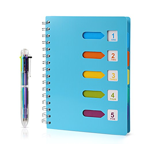 Kesoto A5 Lined Notebook with Multicolored Pen Wire Spiral Subject Notebook Journal with 5 Divider Tabs & 6 Color Retractable Ballpoint Pen, 240 Pages, Blue]()