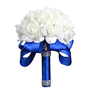 StillCool Wedding Bouquet Crystal Pearl Silk Roses Bridal Bridesmaid Wedding Hand Bouquet Artificial Fake Flowers (18cm x 24cm, Royal-blue) 28