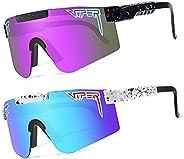 Pit-Viper Sunglasses,2 Pack Outdoor Windproof Sports Eyewear Cycling Baseball Running Fishing Golf Glasses