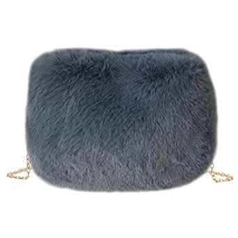 TOOGOO Women Plush Shoulder Bag Fashion Soft Plush Tote Bag Female Winter Chain Handbag Casual Solid Small Crossbody Bag Gray