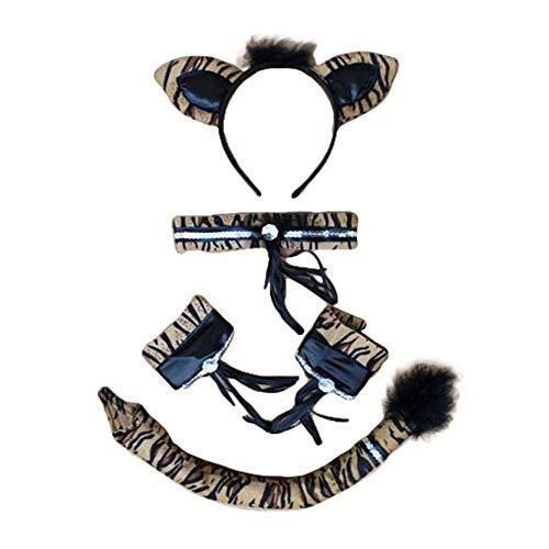 Song Party Cosplay Costume Cat Fox Ears Hair Hoop Headband + Neck Choker + Wristband + Tail Set (Tiger Costume Hair)