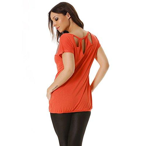 Miss Wear Line - Top corail avec motif en strass et encolure dans le dos