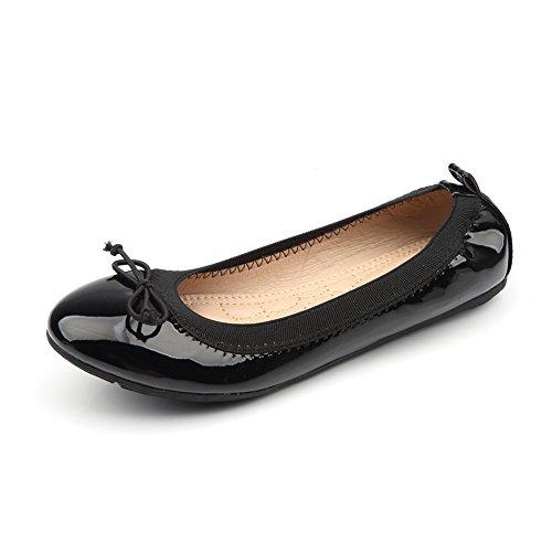 Jamron Women Patent PU Leather Fancy Bowknot Ballet Flats Soft Flexible Rubber Sole Ballerinas Loafers Black SN02307 UK6.5