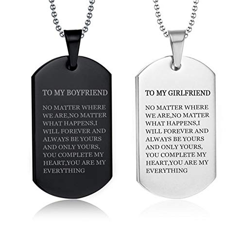 LF 2Pcs Stainless Steel Personalized Couple Necklace,Name Customised His Her Couple Gifts Sentiment Motivational Dog Tag Pendant Necklace for Boyfriend Girlfriend for Valentine,Anniversary,Birthday ()