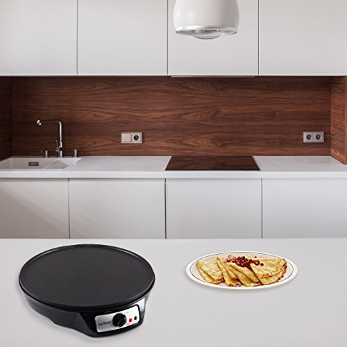 NutriChef Electric Griddle & Crepe Maker | Nonstick 12 Inch Hot Plate Cooktop | Adjustable Temperature Control | Batter Spreader & Wooden Spatula | Used Also For Pancakes, Blintzes & Eggs (PCRM12.V7) by NutriChef (Image #4)