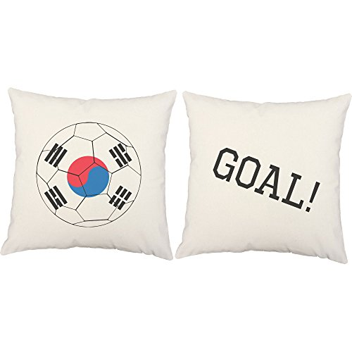 Set of 2 RoomCraft South Korea Flag Soccer Ball Throw Pillows 20x20 Inch Square White Outdoor Cushions by RoomCraft