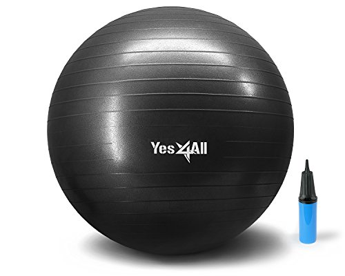 Yes4All 2000-lbs Anti Burst Stability Ball with Hand Pump (O_Black+Pump-75 cm)