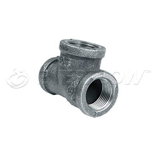 """Everflow Supplies GMRT0345 3/4"""" x 1/2"""" x 3/4"""" Galvanized Malleable Reducing Tee with Female Threaded Fitting"""