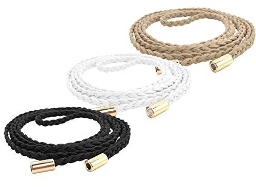 TeeYee Women Girls Slim Waist Belt/Rope/Chain Set (63inch, Black White Apricot)]()