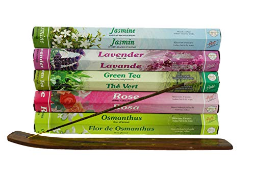 100PCS Incense Sticks Lavender Rose Jasmine Osmanthus Green Tea 5 Popular Incense Flavors Great for Aromatherapy (With Wooden -