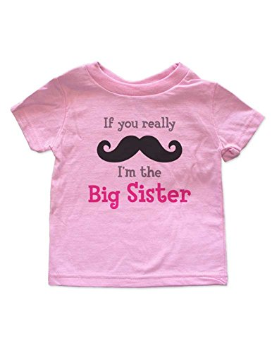 Price comparison product image If you really mustache I'm the Big Sister - baby birth pregnancy announcement Shirt (3T Toddler Shirt, Pink)