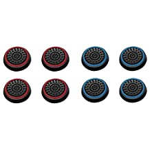 Insten [4 Pair/8 Pcs] Silicone Analog Thumb Grip Stick Cover, Game Remote Joystick Cap for PS4 Dualshock 4/PS3 Dualshock 3/PS2 Dualshock/ Xbox One Wireless/Xbox 360 Controllers (Black/Red, Black/Blue)