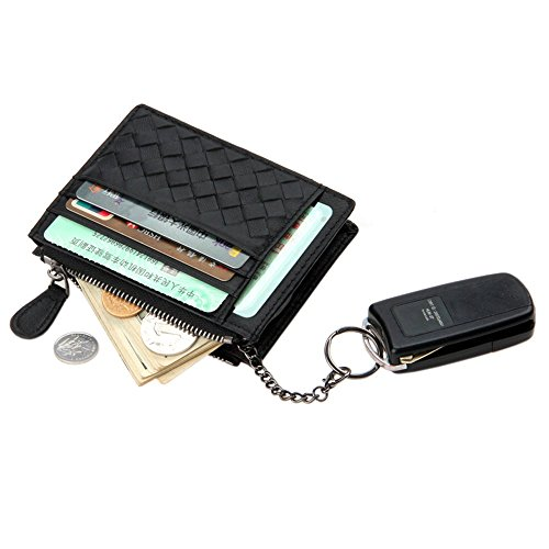 Boshiho Genuine Leather Card Holder, Woven Lambskin Credit Card Case Wallet with Removable Key Ring Mini Coin Purse - Gift (Lambskin Mini)