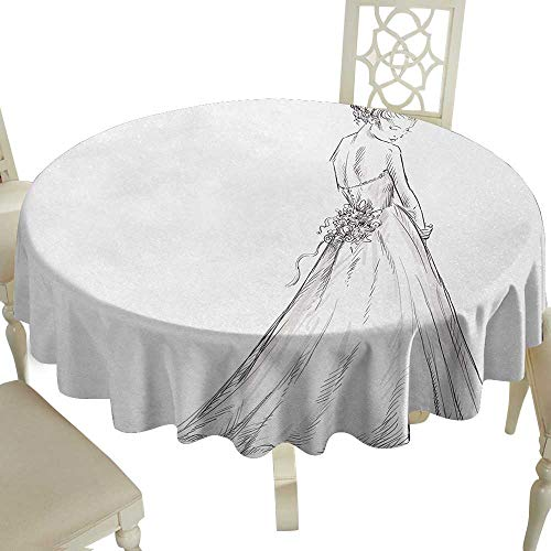 round outdoor round tablecloth 36 Inch Bridal,Fairytale Ending of a Love Story Princess Sketchy Bride with Flowers Image,Black and White Suitable for Party,outdoors,Farmhouse,coffee shop,restaurant - Bridal Brides Princess Shops
