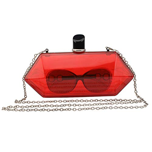 LETODE Acrylic Fashionable Transparent Evening Clutches Shoulder Bags Handbag for Women Ladies Gift Ideal (red) ()