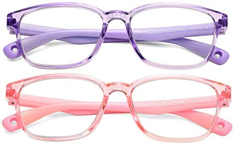 FaceWear Kids Blue Light Blocking Glasses 2 Pack for Girls Age 3-15 Computer Phone Gaming TV Glasses CZB2001