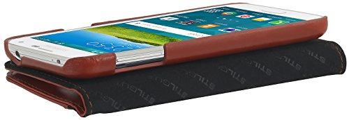 StilGut Talis Book Type funda en piel auténtica con compartimento para dinero y tarjetas de crédito para el original Samsung Galaxy S5 & S5 neo, cognac Cognac