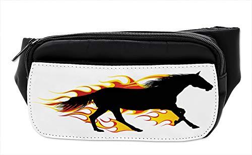 (Lunarable Equestrian Bumbag, Galloping Silhouette, Fanny Pack Hip Waist Bag)