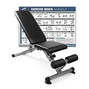 RitFit Adjustable / Foldable Utility Weight Bench for Home Gym, Weightlifting and Strength Training – Bonus Workout Poster with 35 Total Body Exercises (Upgraded Version)
