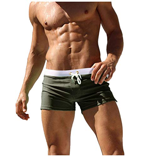 Cocobla Men's Beach Swimming Trunks Boxer Brief Swimsuit Swim Underwear Boardshorts with Pocket (Y_Dark Green, XX-Large(fits Like US X-Large)) (Men Boxer Brief Trunks)