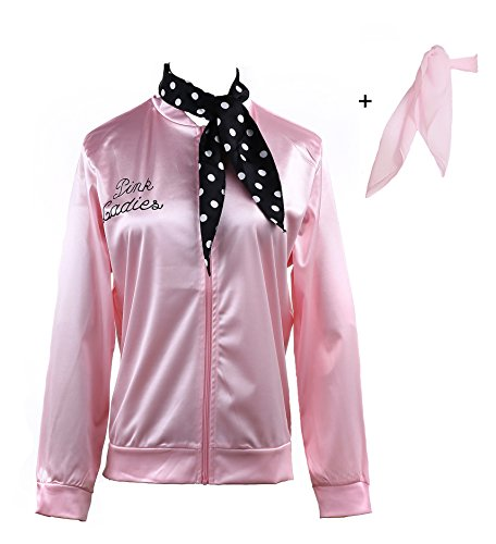Yan Zhong 1950s Pink Ladies Satin Jacket with Neck Scarf T Bird Women Danny Halloween Costume Fancy Dress (Without Rhinestone on The Back, 2X-Large) ()