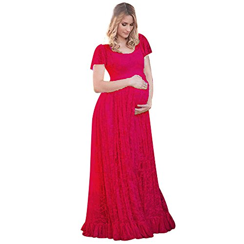 Sherostore ♡ Maternity Floral Lace Dress Maxi Split V Neck Flying Sleeves Front Gown Bridesmaid Pregnant Dress,Plus Size Hot Pink