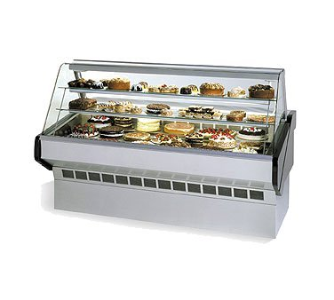 (Federal Industries Market Series Bakery Case Refrigerated Bottom Display Deck Non-Refrigerated Glass Shelves, 72