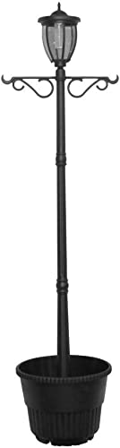 Sun-Ray 312064 Kenwick Single-Head Solar Lamp Post Planter, with Plant Hanger, Dual Amber White Light Switch, 7 , Bronze, Batteries Included