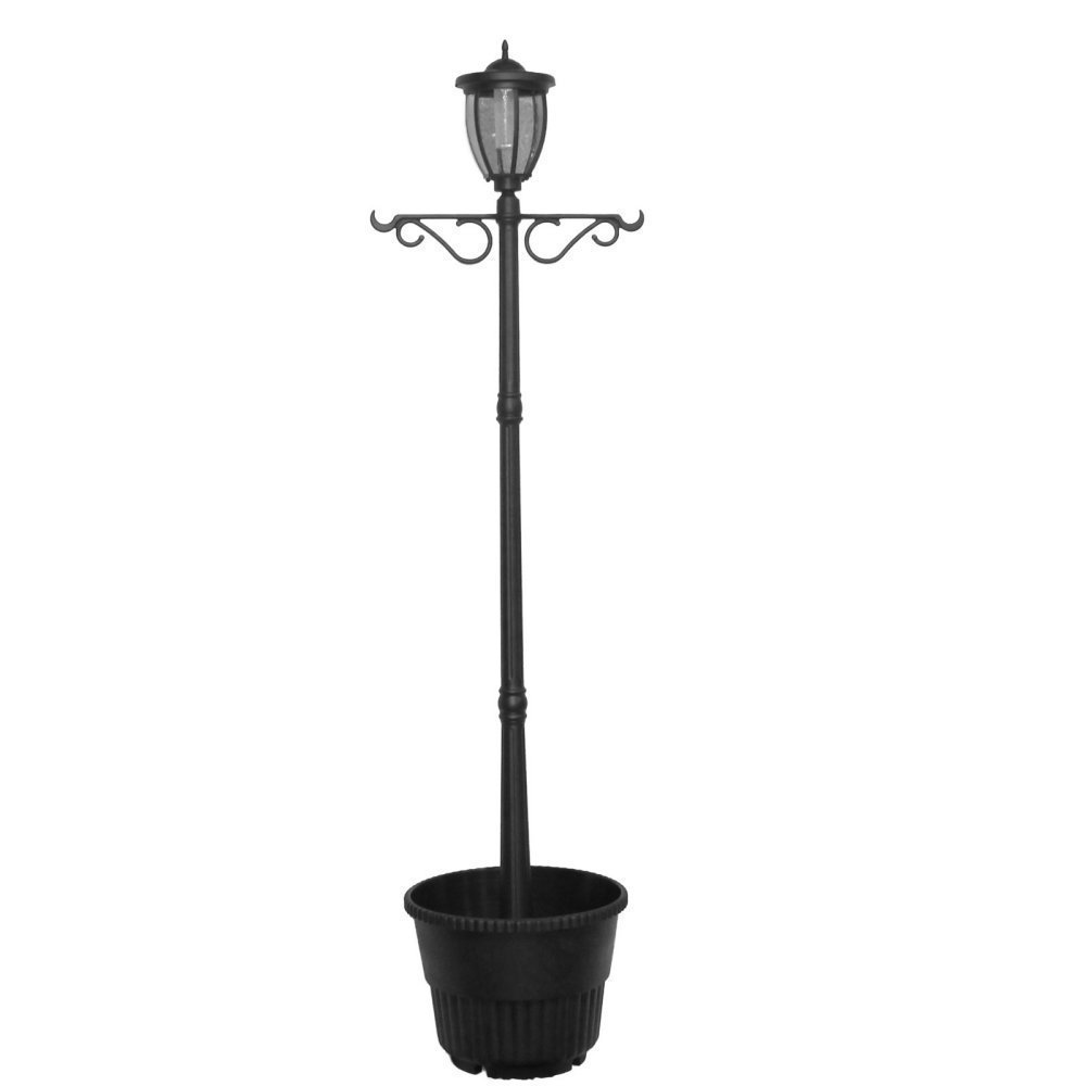 Sun-Ray 312064 Kenwick Single-Head Solar Lamp Post & Planter, with Plant Hanger, Dual Amber/White Light Switch, 7', Bronze, Batteries Included