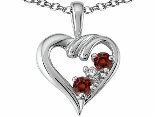 Tommaso Design Round 3 mm Genuine Garnet Heart Pendant Necklace 14 kt White (Gold Round Garnet Heart)