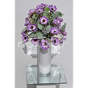 Silk Blooms Ltd Artificial Purple Anemone and Green Lambsear Floral Arrangement w/White Cylinder Vase 13