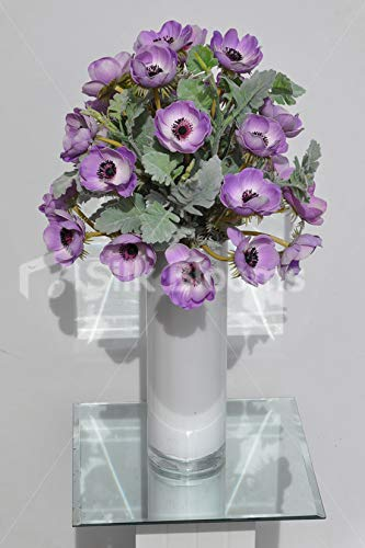 Silk-Blooms-Ltd-Artificial-Purple-Anemone-and-Green-Lambsear-Floral-Arrangement-wWhite-Cylinder-Vase