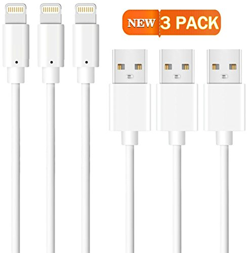 Price comparison product image Lightning to USB Cable,  3 Pack 6 Feet / 2 Meter [Heavy Duty] iPhone Charging Cord iPad Charger for Apple iPhone 7 / 6 / 6S / Plus / SEiPad Mini / Air / Pro / iPod,  Compatible with iOS10