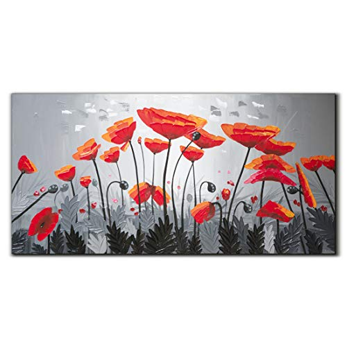 Yika Art,Red Poppy - 24x48 Inch Abstract Flowers Painting Gary 3D Hand-Painted On Canvas Wall Decoration for Living Room Bedroom Hallway Office Ready to ()